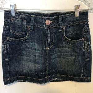 Bebe Jean distressed skirt w/embellishments. Sz 26